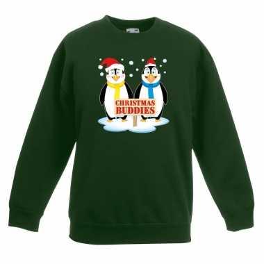 Foute kersttrui met pinguin vriendjes groen kinderen