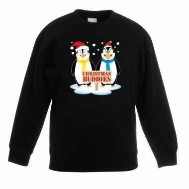 Foute kersttrui met pinguin vriendjes zwart kinderen