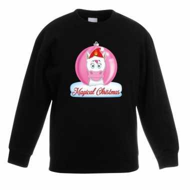 Foute kersttrui met roze eenhoorn kerstbal zwart voor meisjes