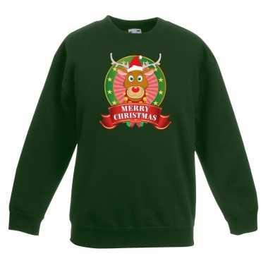 Foute kersttrui met rudolf het rendier groen jongens en meisjes