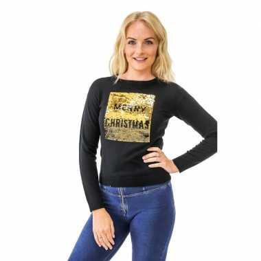 Foute kersttrui pailletten dames merry christmas/happy new year