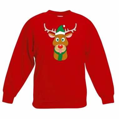 Foute kersttrui rendier rudolf met groene kerstmuts rood kinderen
