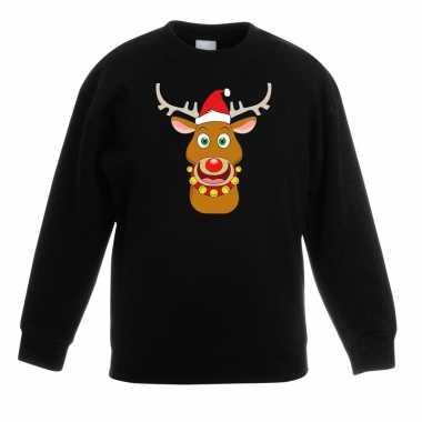 Foute kersttrui rendier rudolf met rode kerstmuts zwart kinderen