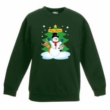 Foute kersttrui sneeuwpop en vriendjes groen kinderen