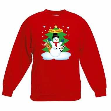 Foute kersttrui sneeuwpop en vriendjes rood kinderen
