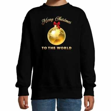 Foute kersttrui / sweater merry christmas to the world zwart kinderen