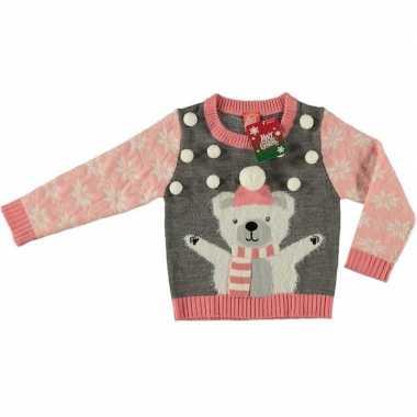 Grijze foute kersttrui ijsbeer voor meisjes maat 104/110