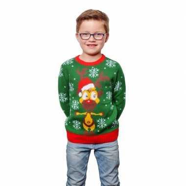 Groene foute kersttrui met rendier voor kinderen