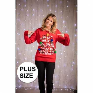 Grote maat rode dames foute kersttrui met verlichting