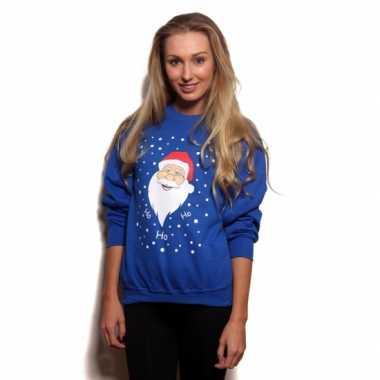 Grote maten blauwe foute kersttrui met kerstman