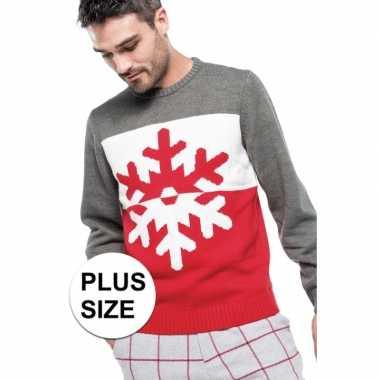 Grote maten foute foute kersttrui grijs/rood met sneeuwvlok voor here