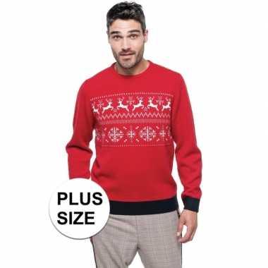 Grote maten foute foute kersttrui rood met noorse print voor heren