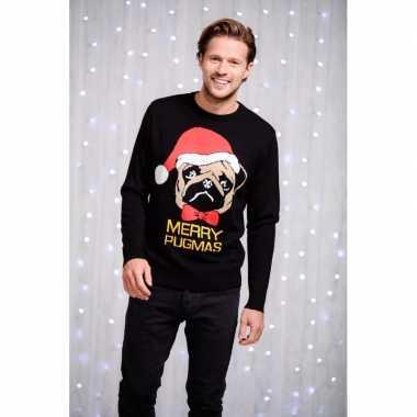 Heren foute kersttrui zwart met mopshond