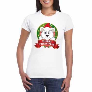 Ijsbeer kerst t shirt wit merry christmas voor damesfoute