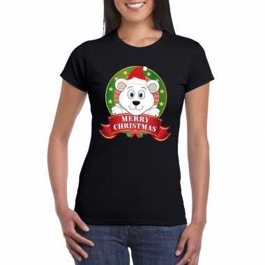 Ijsbeer kerst t shirt zwart merry christmas voor damesfoute