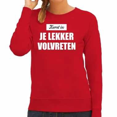 Kerst is: je lekker volvreten foute foute kersttrui / kerst outfit rood voor dames