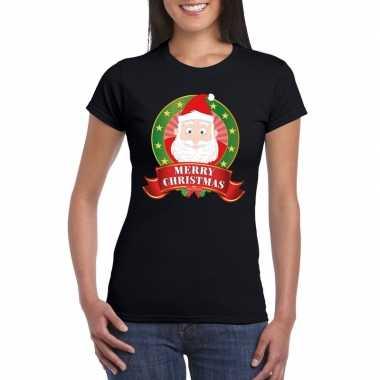 Kerst t shirt met kerstman zwart merry christmas voor damesfoute