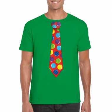 Kerst t shirt stropdas met kerstballen print groen voor herenfoute