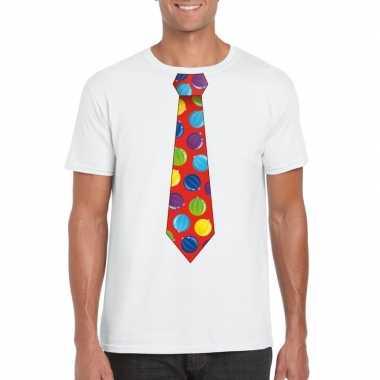 Kerst t shirt stropdas met kerstballen print wit voor herenfoute