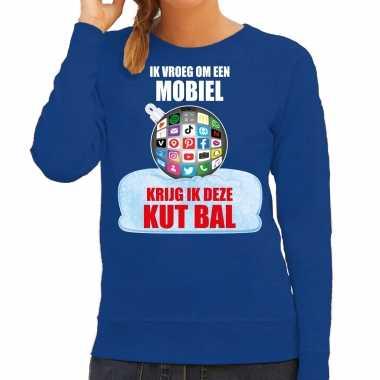 Kut kerstbal sweater / foute foute kersttrui ik vroeg om een mobiel krijg ik deze kut bal blauw voor dames