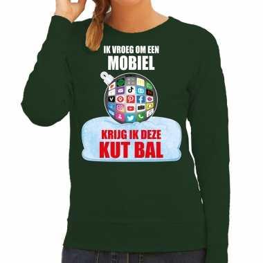 Kut kerstbal sweater / foute foute kersttrui ik vroeg om een mobiel krijg ik deze kut bal groen voor dames