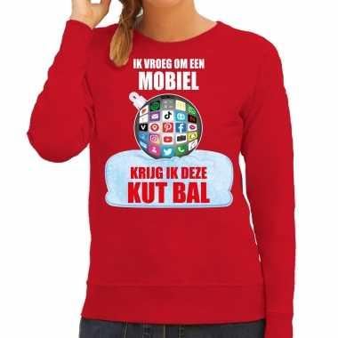 Kut kerstbal sweater / foute kersttrui outfit ik vroeg om een mobiel krijg ik deze kut bal rood voor dames
