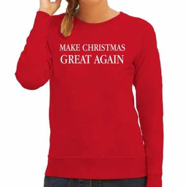 Make christmas great again foute kerst sweater / foute kersttrui rood voor dames