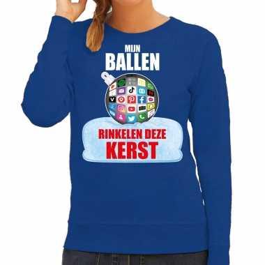 Rinkelende kerstbal sweater / foute foute kersttrui mijn ballen rinkelen deze kerst blauw voor dames