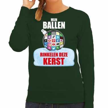 Rinkelende kerstbal sweater / foute foute kersttrui mijn ballen rinkelen deze kerst groen voor dames