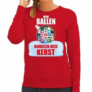 Rinkelende kerstbal sweater / foute foute kersttrui mijn ballen rinkelen deze kerst rood voor dames