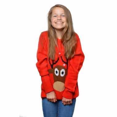 Rode foute kersttrui met rendier voor kinderen