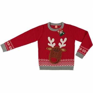Rode foute kersttrui rendier voor kinderen