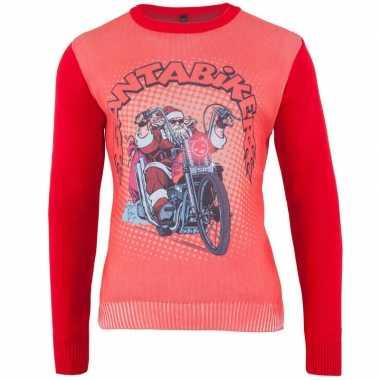 Rode foute kersttrui santa biker