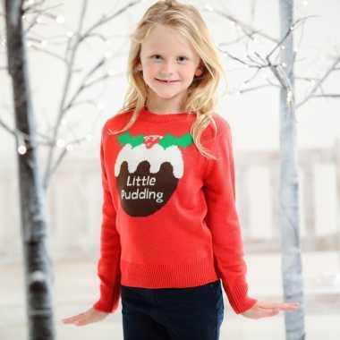 Rode foute kersttrui voor kinderen little pudding