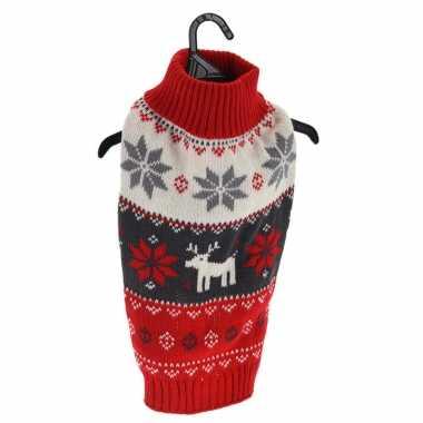 Rode gebreide foute foute kersttrui met sneeuwvlokken en rendieren voor huisdieren