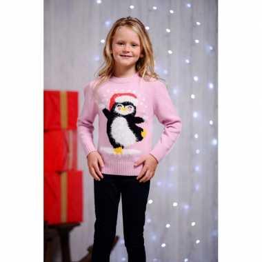 Roze foute kersttrui voor kinderen dansende pinguin