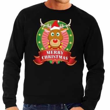 Rudolf foute kersttrui zwart merry christmas voor heren