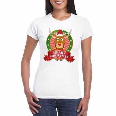 Rudolf kerst t-shirt wit merry christmas voor damesfoute