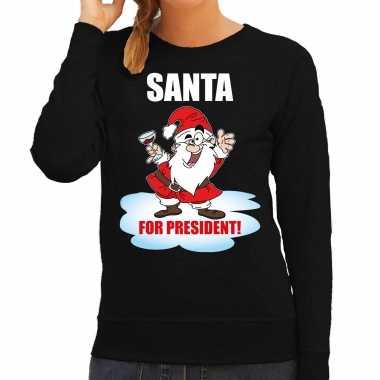 Santa for president kerst sweater / foute foute kersttrui zwart voor dames