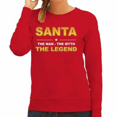 Santa foute kersttrui sweater / outfit / the man / the myth / the legend rood voor dames