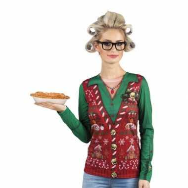 Shirt kerst gilet opdruk damesfoute