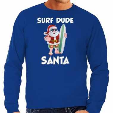 Surf dude santa fun foute kersttrui / outfit blauw voor heren