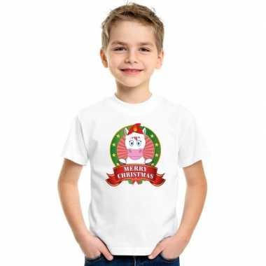 Wit kerst t-shirt voor kinderen met een eenhoornfoute