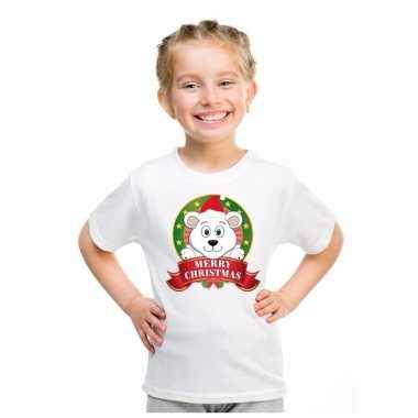 Wit kerst t-shirt voor kinderen met een ijsbeerfoute