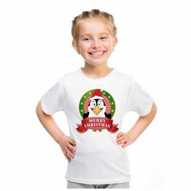 Wit kerst t shirt voor kinderen met een pinguinfoute