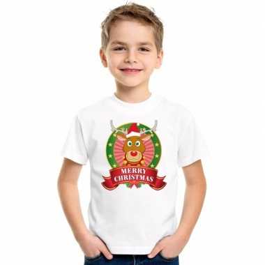 Wit kerst t shirt voor kinderen met een rendierfoute