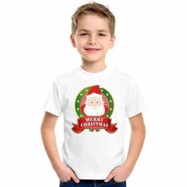 Wit kerst t shirt voor kinderen met kerstman printfoute