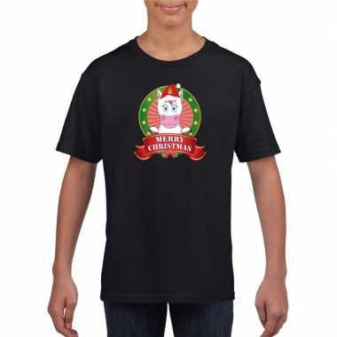 Zwart kerst t shirt voor kinderen met een eenhoornfoute
