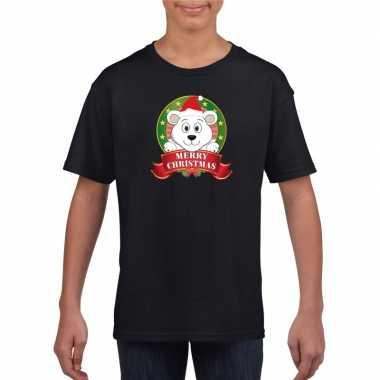Zwart kerst t shirt voor kinderen met een ijsbeerfoute