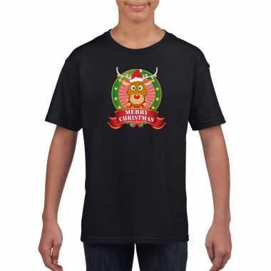 Zwart kerst t shirt voor kinderen met een rendierfoute